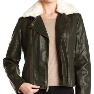 FRENCH CONNECTION Faux Fur Leather Moto Jacket